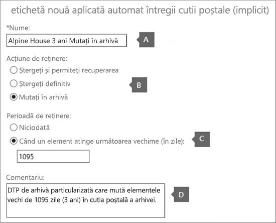Setările pentru a crea o etichetă de politică nouă de implicit arhivă