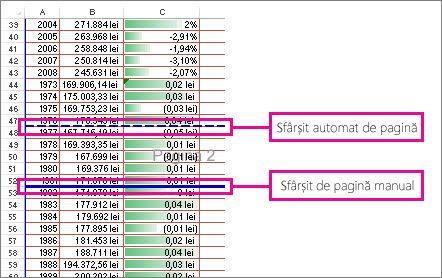 Sfârșiturile de pagină manuale și automate
