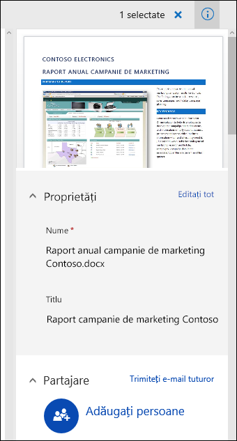 Office 365 Document panoul Metadate