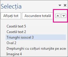 Panoul de selecție afișând toate formele, casetele text, obiectele WordArt și alte obiecte din document.