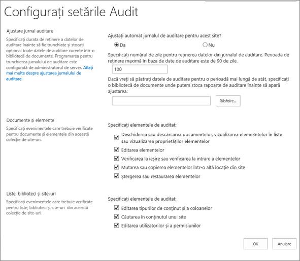 Configurarea setărilor de auditare în caseta de dialog Setări Site