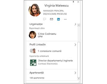 Carte de vizită cu informații LinkedIn