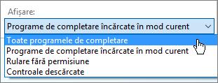 Gestionarea caseta de dialog programe de completare afișând lista verticală de programe de completare încărcate în prezent.