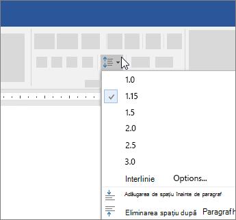 Opțiuni spațiere linie în caseta de dialog paragraf