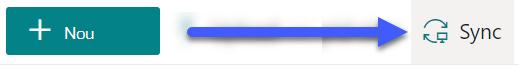 În bibliotecile de documente SharePoint, butonul sincronizare este disponibil lângă partea de sus a paginii.