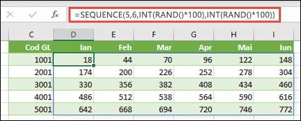 Exemplu de funcție SEQUENCE imbricată cu INT și RAND pentru a crea un set de date eșantion
