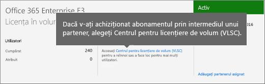 Link către Centrul pentru licențiere de volum (VLSC).
