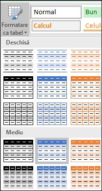 Selecții din Galeria de stiluri Excel pentru formatare ca tabel