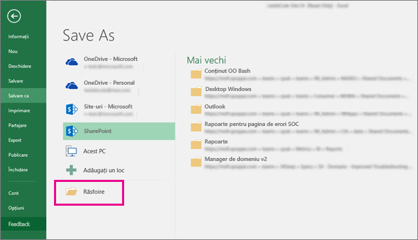 Faceți clic pe un folder SharePoint sau faceți clic pe Navigare
