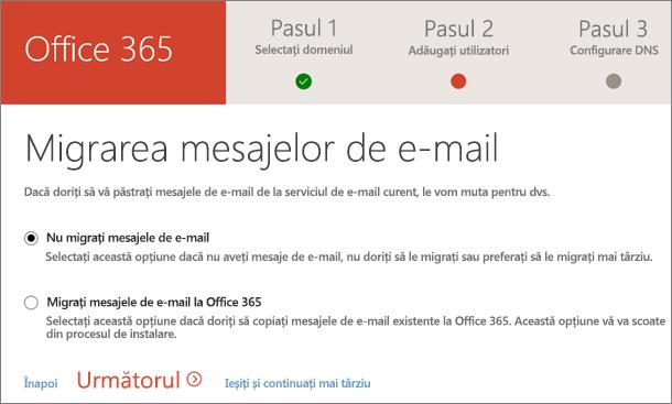 Migrarea mesajelor de e-mail