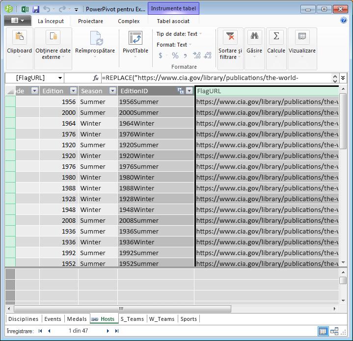 PowerPivot și DAX pentru a crea un câmp de adrese URL