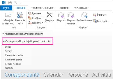 Cutia poștală partajată se afișează în lista de foldere din Outlook
