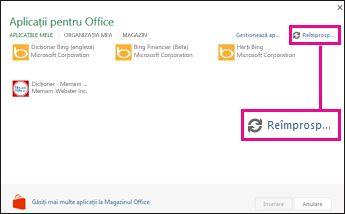 Butonul Reîmprospătare pentru aplicații pentru Office