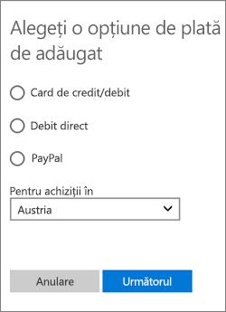 Meniul Alegeți o opțiune de plată cu celelalte opțiuni disponibile pentru Austria.