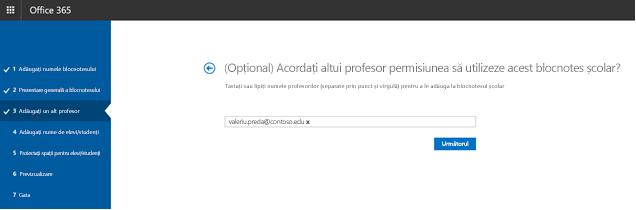 Captură de ecran a pasului pe permisiuni opțional profesor suplimentare.
