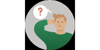 Ilustrație cu un bărbat lângă semnul întrebării
