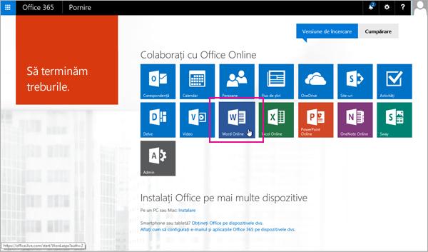 Selectați o aplicație Office Online