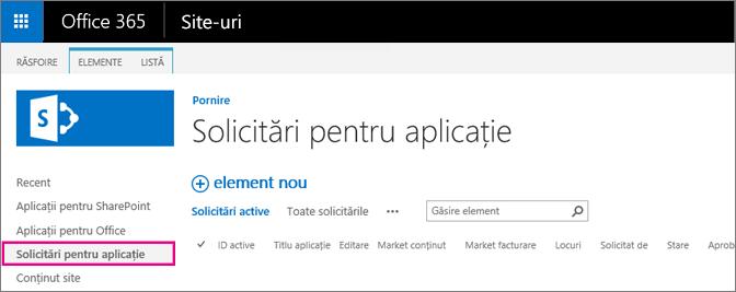 Captură de ecran care afișează linkul Solicitare aplicație
