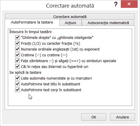 Opțiunile în formatul automat pe măsură ce tastați Tab