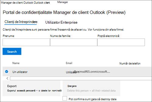 Captură de ecran: Export Outlook client Manager client date