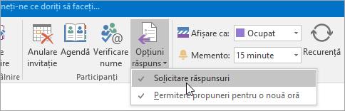 Captură de ecran a butonului Solicitare răspunsuri în Outlook 2016 pentru Windows