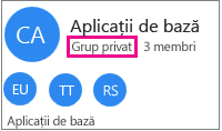 "Felicitare de grup eșantion cu ""grup privat"" evidențiat"