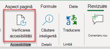 Captură de ecran a interfeței Utilizator pentru a deschide verificatorul de accesibilitate
