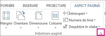 Buton care deschide caseta Inițializare pagină