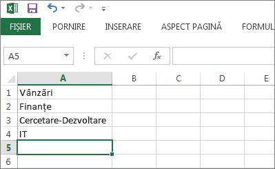 Crearea listei verticale de intrări pe o singură coloană sau un singur rând din Excel