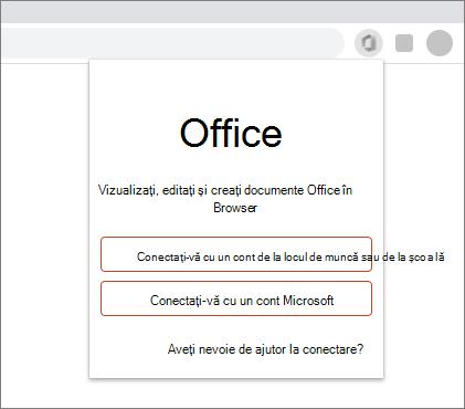 Imagine cu un browser web afișând solicitarea de conectare pentru extensia Office