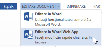 Opțiunea din meniu Editare în Word Web App