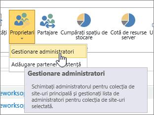 SPO Site administrator proprietarii butonul cu gestionare administratori evidențiată.