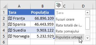 A doua coloană cu date adăugată