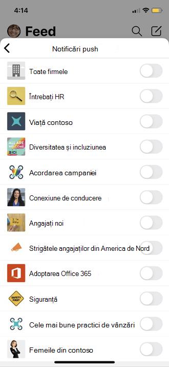 Configurarea setărilor de profil mobil Yammer