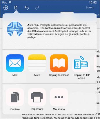 Deschidere în altă aplicație de dialog vă trimite documentul la altă aplicație de corespondență, imprimați sau partajați.