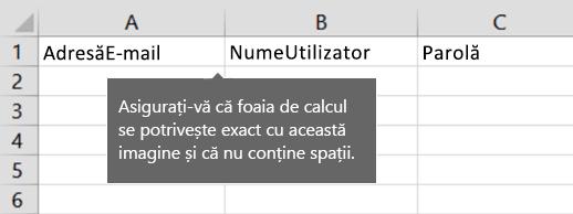 Titluri de celulă din fișierul de migrare Excel