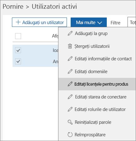 Eliminarea tuturor licențelor de utilizator utilizând Centrul de administrare Office 365