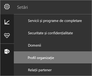 Captură de ecran cu meniul Setări, cu Profil organizație selectat
