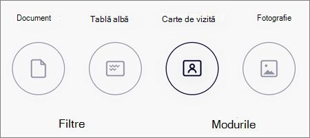 Opțiuni de mod pentru scanările de imagini în OneDrive pentru iOS