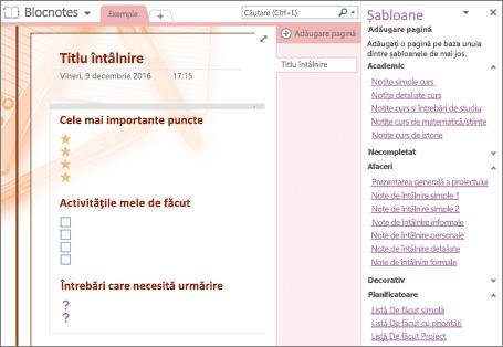 Captură de ecran a unei pagini de blocnotes create dintr-un șablon de întâlnire. Panoul Șabloane este deschis.