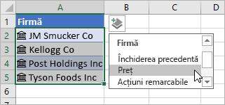 Cursor care face clic pe Adăugare coloană și selectează Prețul din lista de câmpuri