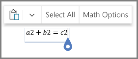Afișând opțiunile de matematică pentru ecuații