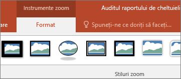 Afișează fila formatare, instrumente de Zoom pe panglica din PowerPoint.