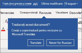 O solicitare care vă oferă să traduceți documentul pentru dvs.