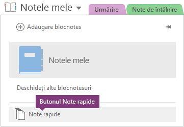 Butonul note rapidă în partea de jos a listei de blocnotesuri