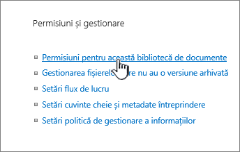 Permisiuni pentru acest link de bibliotecă de documente