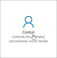 În Setări Windows, accesați Conturi