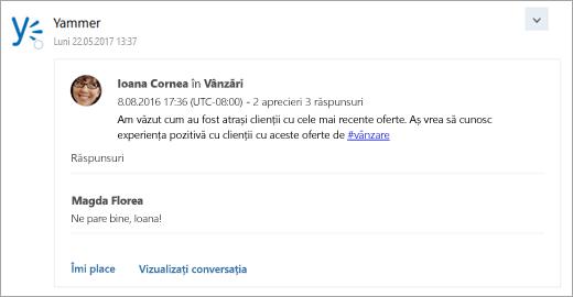 Captură de ecran a cărții de la un serviciu conectat, care este livrat cu inboxul de grup