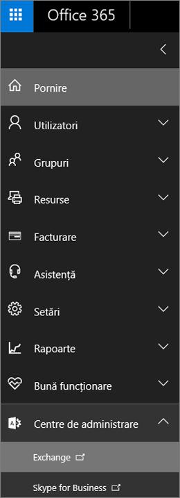 Captura de ecran afișează centrul de administrare Office 365 cu opțiunea Centre de administrare extinsă și Exchange selectat.