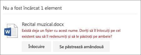 """Eroarea """"Numele de fișier există deja"""" din interfața de utilizator web OneDrive"""